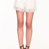 SHEER EMBROIDERED LACE SHORTS