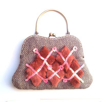 Chic brown, beige clutch - wool and linen- with pink sequins and chestnut diamond furry parchments. OOAK
