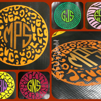 "12"" Custom Circle Monogram Car Decal - Cheetah Pattern Outer Circle - Personalized Sticker"