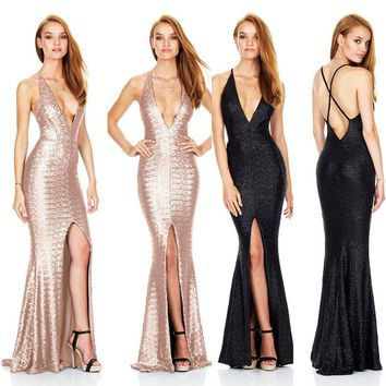 Long Sexy Dress Deep-V Halter Backless Split Sequins Banquet Elegant Lady Floor-length Party Prom Gowns Dresses
