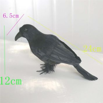 2pcs Realistic Looking  Raven Black Birds  Feathered Crows