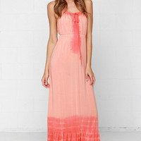 Others Follow Emerson Peach Tie-Dye Maxi Dress