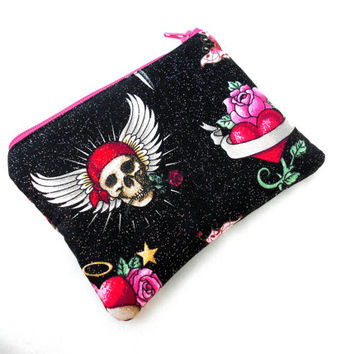 Tattoo Art And Glitter Zipper Pouch - Skulls, Roses, Tattoo, Sword, Zipper Pouch, Clutch Wallet Electronics