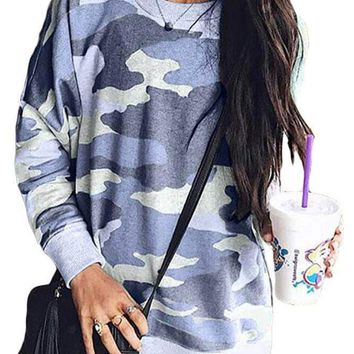 Blue Digital Camo Print Sweatshirt