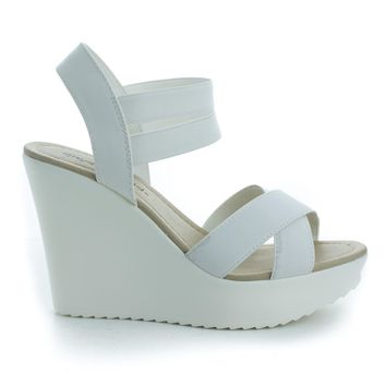 Benny White Pu By City Classified, Open Toe Strappy Elastic Ankle Cuff Platform Casual Wedges Shoe