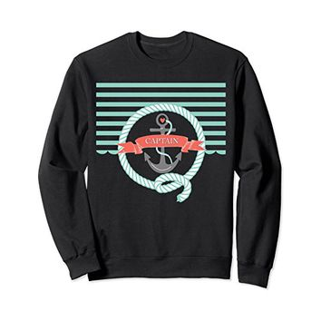 Nautical Stripe Anchor Aqua - Captain Sweatshirt