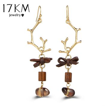 17KM Tassel Antlers Drop Earring For Women Vintage Wood Brown Leather Bohemia Long Statement Earrings 2017 Brincos Party Boho Jewelry