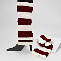 Red & White Stripe Knitted leg Warmer