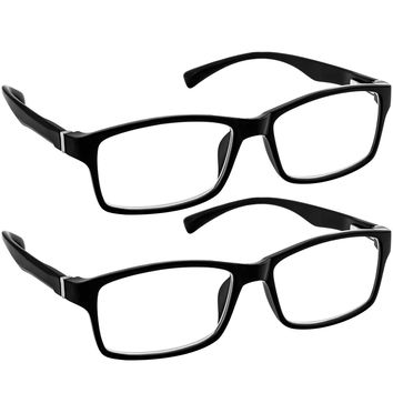 Computer Reading Glasses 0.00 _ Black 2 Pack Protect Your Eyes Against Eye Strain, Fatigue and Dry Eyes from Digital Gear with Anti Blue Light, Anti UV, Anti Glare, and are Anti Reflective