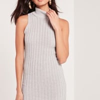 Missguided - High Neck Sleeveless Knitted Dress Grey