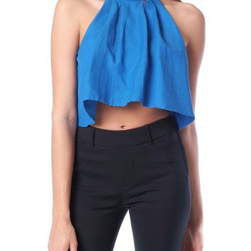 Spice Up Halter Crop Top - Blue