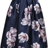 Navy Florals Flare Skirt With Zipper -SheIn(Sheinside)