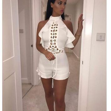 Lace-Up Scoop Rompers