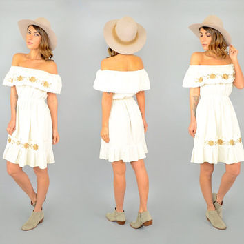 70's Off-The-Shoulder Mexican Dress
