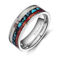 Deer Antlers Titanium Ring Wedding Bands Turquoise Wood Inlaid Flat Comfort Fit