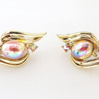Coro Faux Moonstone Earrings - Vintage Gold Tone Clip-ons