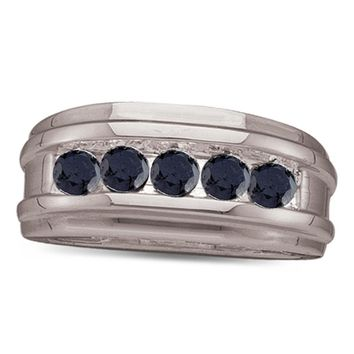 10kt White Gold Mens Round Black Color Enhanced Diamond Band Ring 1/4 Cttw