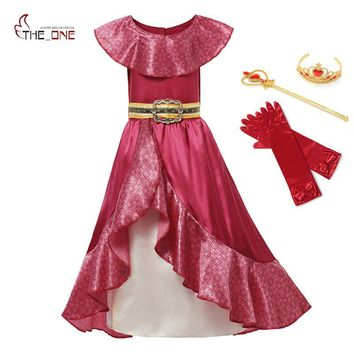 MUABABY Girl Elena of Avalor Adventure Dress up Children Summer Princess Cosplay Costume Girls Sleeveless Ruffles Classic Dress