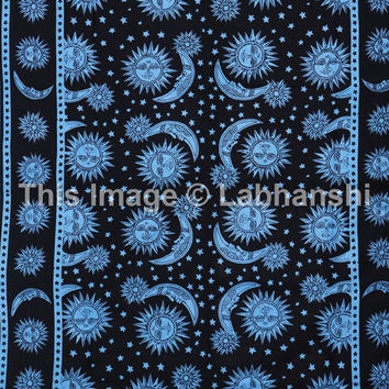 Hippie Hippy Psychedelic Celestial Sun Wall Hanging , Indian Tie dye Moon Tapestry Throw Bedspread , Dorm Tapestry , Decorative Wall Hanging