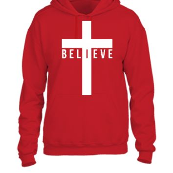 cross believe car decal sticker - UNISEX HOODIE