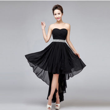 Cystal Sashes Fashion Style Chiffon Sweetheart Off Shoulder Dress