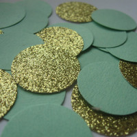 Green and Gold Confetti Mint Wedding Decor Gold Wedding Decor Wedding Reception Decor Gold and Mint Confetti Wedding Table Confetti Glitter