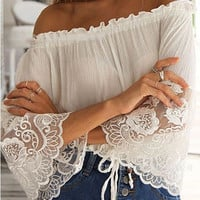 BOHO Chiffon and Lace Off Shoulder Top