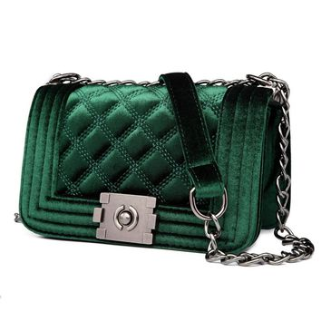 Multi-color Velvet  Velour Quilted Chain  Crossbody Messenger Bag