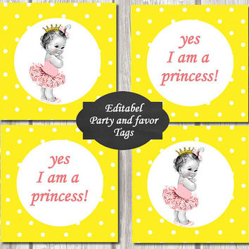 EDITABEL-Princess Baby Shower baby princess Cupcake Toppers Printable Party baby DIY Party Toppers girl Yellow dots favor tags