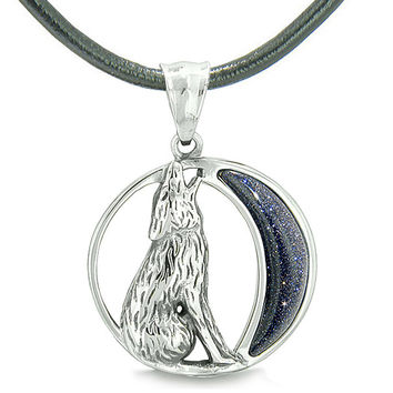 Amulet Howling Wolf Wild Moon Spiritual Powers Blue Goldstone Leather Pendant Necklace