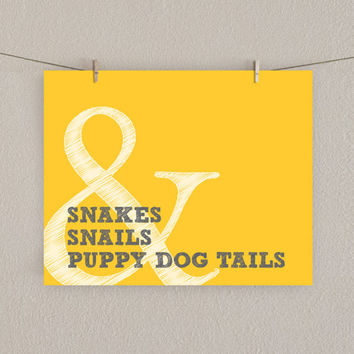 Baby Boy Nursery Art Print - Snakes & Snails and Puppy Dog Tails - Mustard Yellow and Gray, 8x10