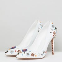 Dune Summer Leather Embellished Floral Pointed Heeled Court Shoes at asos.com