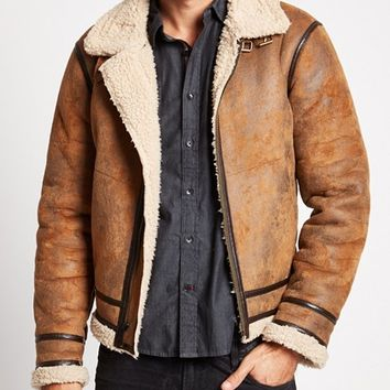 Railroad Faux-Shearling Jacket | GUESS.com