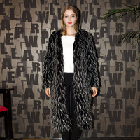 Casual Black Open Front Fur Coat
