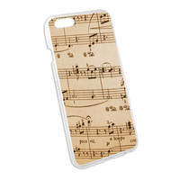 Music Musical Sheet Notes Vintage - Treble Clef Snap On Hard Protective Case for Apple iPhone 6