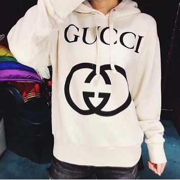 GUCCI Newest Trending Women Men Stylish Print Long Sleeve Hoodie Couple Sweater Pullover Top Sweatshirt