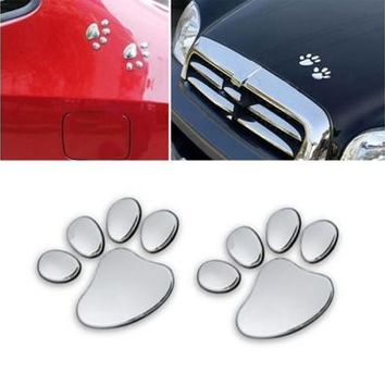 New Cute 3d Car Window Bumper Body Decal Sticker Bear Dog Animal Paw Foot Prints Pattern (Color: Silver) [8887493772]