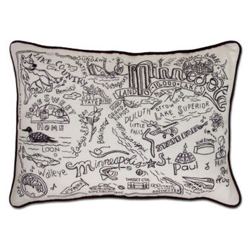 Minnesota Black and White Embroidered Pillow