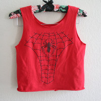Upcycled lady spidey cropped tank top in red - S