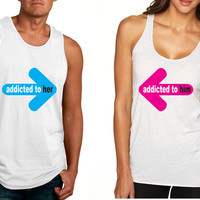 Addicted to her Addicted to him Valentine day tanktop Couple