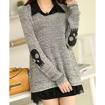 Women's Two Piece Skull Pullover Sweater with Black Shirt