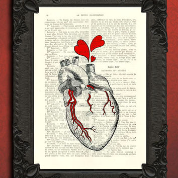 anatomical heart - Bleeding heart dictionary art print - Heart print - Valentine Art - Valentine's Day - Love Art