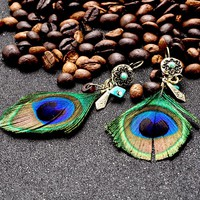 Peacock - Feather Tassel Earrings
