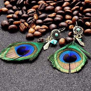 Ethnic natural peacock feather pendant earring earings Vintage boho wood beads metal leaf flower earrings for women jewelry gift