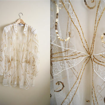 Winter Deco - Vintage 80s Mesh Sequin Jacket White Gold Deco