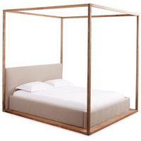 Bryan Linen Canopy Bed, Natural, Canopy Beds