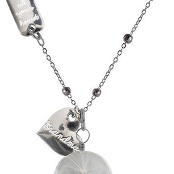 """Grandma - 29"""" Sweater Necklace with Glass Wish Pendant"""