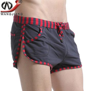 Patchwork Casual Shorts 2017 WJ Sides Split High Quality Summer Style Loose Low Rise Cotton Beach Shorts Striped Men Sweatpants