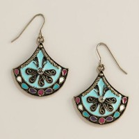 Turquoise Enamel Drop Earrings - World Market