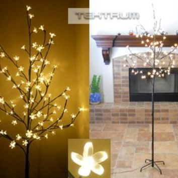 Tektrum 6.5' Tall/108 Warm White LED Lighted Cherry Blossom Flower Tree for Christmas/Holiday/Party